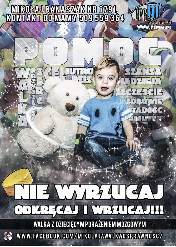 Plakat promujący pomoc dziecku poprzez zbieranie zakrętek z butelek.