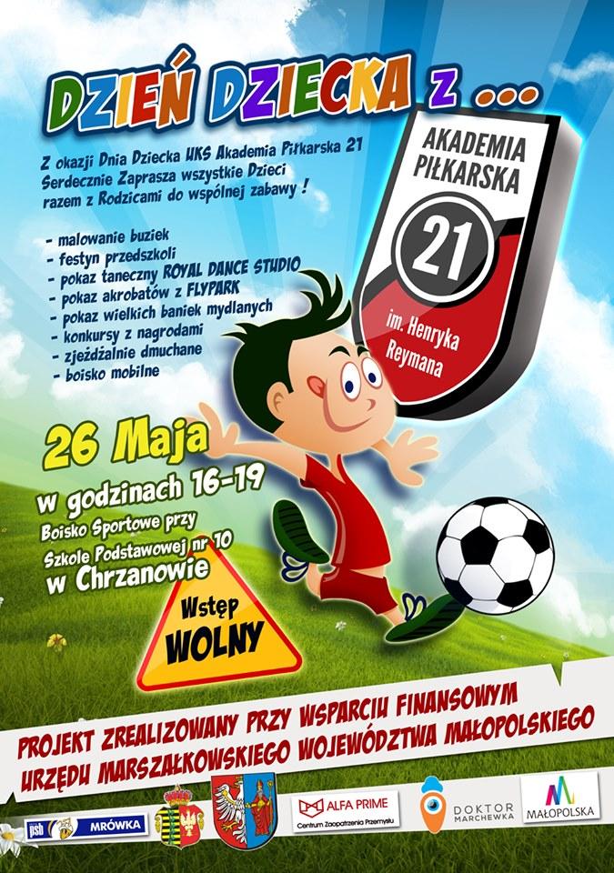 Plakat promujący dzień dziecka w Akademii Piłkarskiej