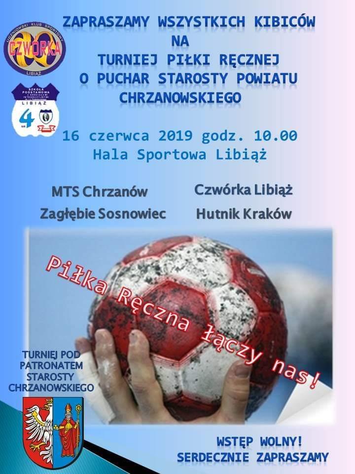 Plakat promujący mecz piłki ręcznej