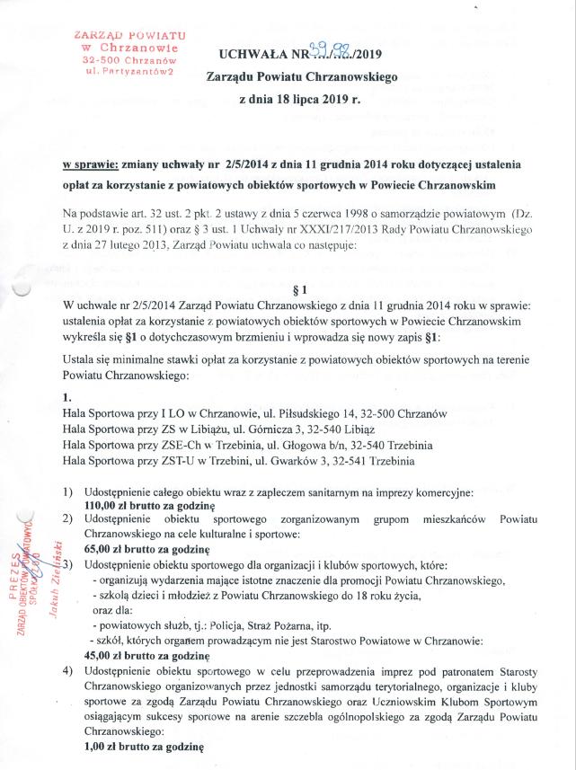 Dokument z informacjami na temat zmiany opłat w obiektach sportowych