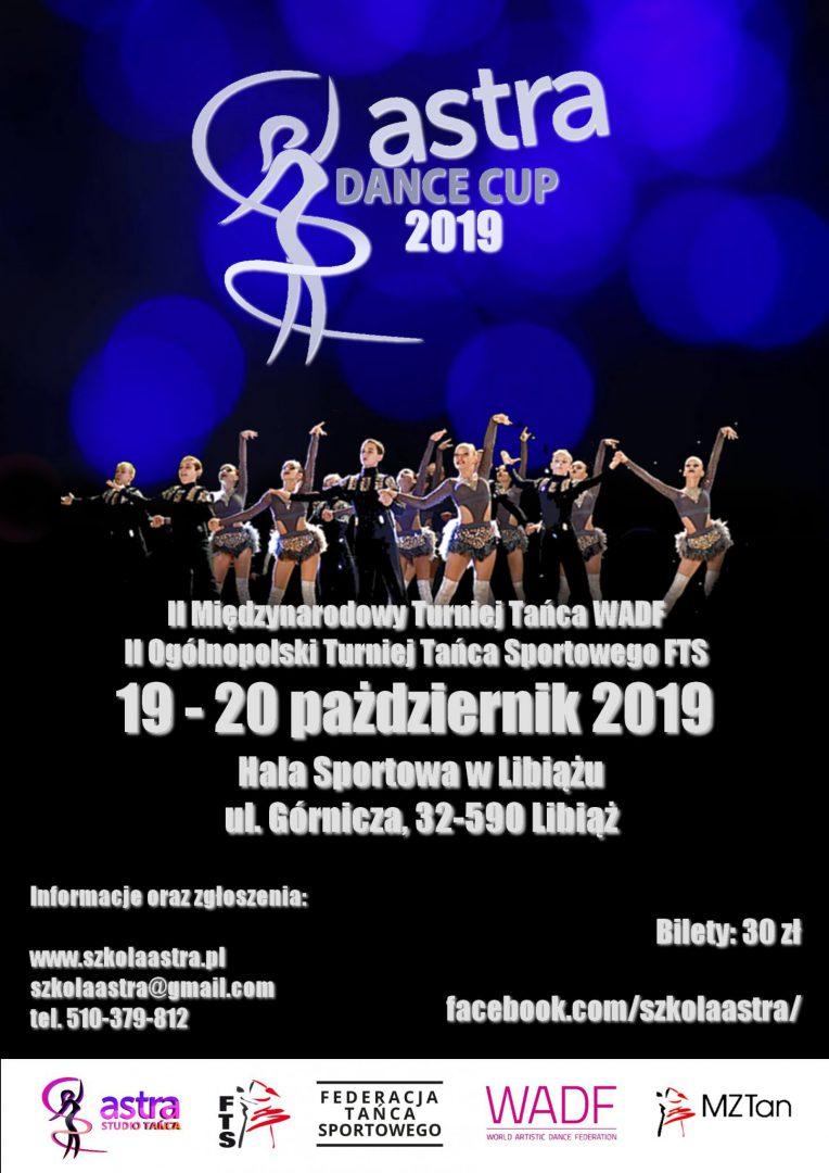 Plakat promujący turniej tańca WADF, Astra Dance Cup 2019
